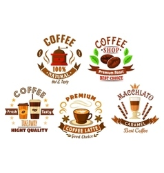 Coffee shop design elements in cartoon style vector image