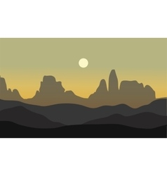 Silhouette of desert with moon vector