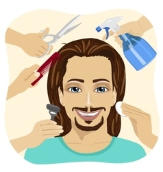 Many hands making different beauty salon services vector