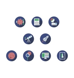 Expedition to mars round flat color icons vector