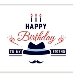 Happy Birthday Label With Hat vector image