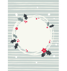 Abstract wreath with red berries s round frame vector