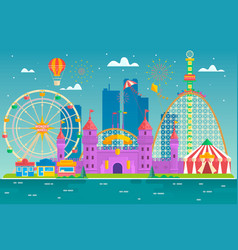 Amusement park with attraction and rollercoaster vector