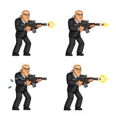 Body guard gun shooting animation vector