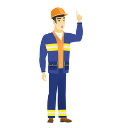 builder with open mouth pointing finger up vector image vector image