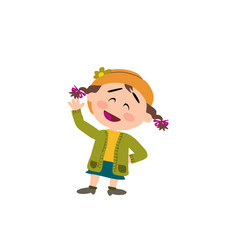 cartoon character girl greeting vector image