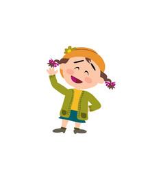 cartoon character girl greeting vector image vector image
