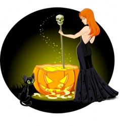 cauldron witch vector image vector image