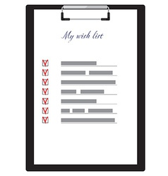 Clipboard and wish list vector