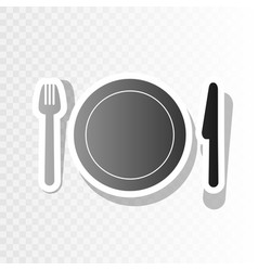fork plate and knife new year blackish vector image vector image