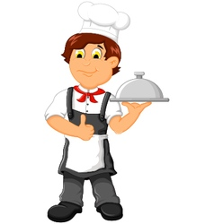 funny chef cartoon holding plate vector image vector image