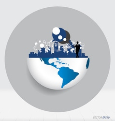 Globe and building with businessman and modern vector