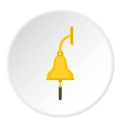 Golden ship bell icon circle vector
