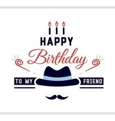 Happy birthday label with hat vector