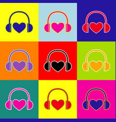 headphones with heart pop-art style vector image