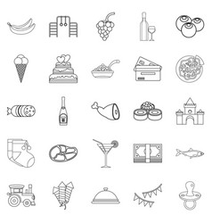ice cream icons set outline style vector image