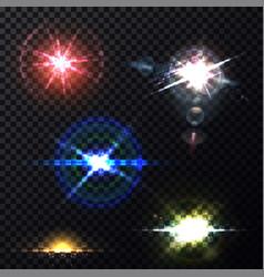 Lens light effects transparent background template vector