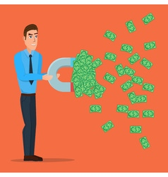Male businessman getting money with a large magnet vector image