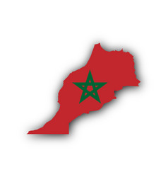 Map and flag of morocco vector