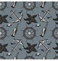 Marin seamless pattern with anchor and whell vector