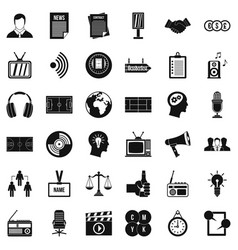 Media space icons set simple style vector