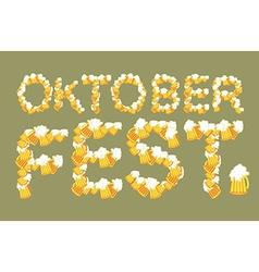 Oktoberfest typography of mug of beer lettring of vector