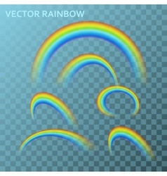 Rainbows in different shape realistic colorful set vector image vector image