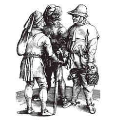 The three peasants was created by artist albrecht vector