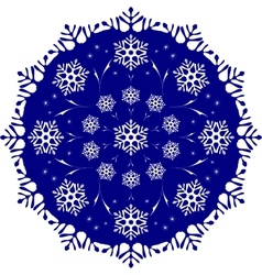 The tracery of snowflakes in the circle frosty vector