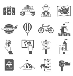 Travel icons black set vector