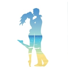 young couple and ocean landscape vector image vector image
