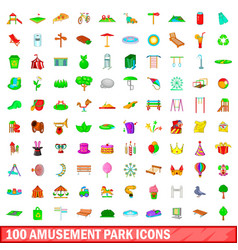 100 amusement park icons set cartoon style vector image vector image