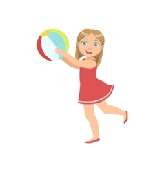 Girl playing inflatable ball vector