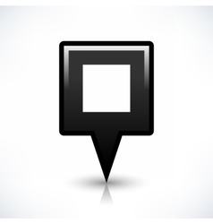 Black blank map pin sign square location icon vector