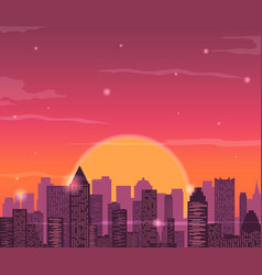 Evening city skyline buildings silhouette vector