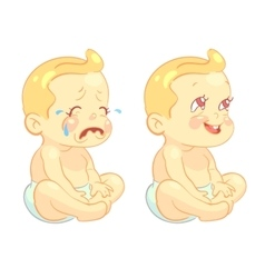Smiling toddler baby and crying child vector