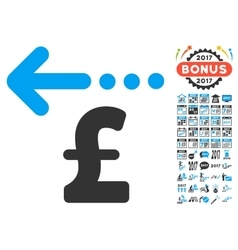 Refund pound icon with 2017 year bonus pictograms vector