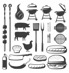 Bbq decorative icons set vector