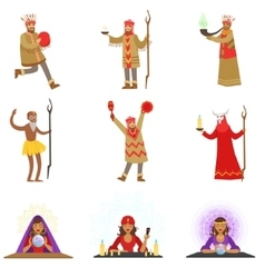 Different cultures shamans and gypsy fortune vector