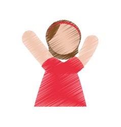 little girl draw vector image
