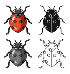 Ladybug icon in cartoon style isolated on white vector