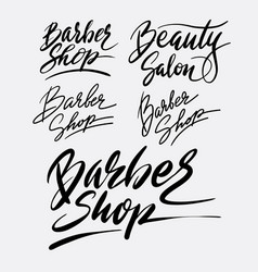Barber shop and beauty salon hand written typograp vector