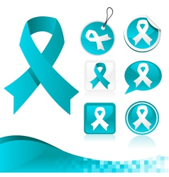 Blue ribbons awareness kit vector