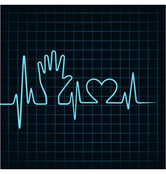 Heartbeat make helping hand and heart stock vector image