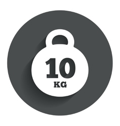 Weight sign icon 10 kilogram kg sport symbol vector