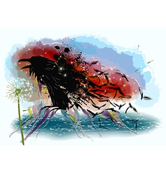 Crows and dandelion vector