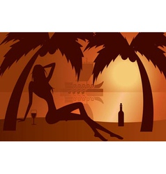 Beautiful woman silhouette on a beach vector