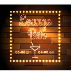 Lounge bar neon sight vector