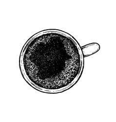 Black and white hand drawn coffee cup vector