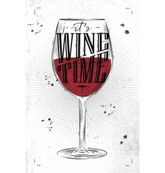 Poster wine time vector image